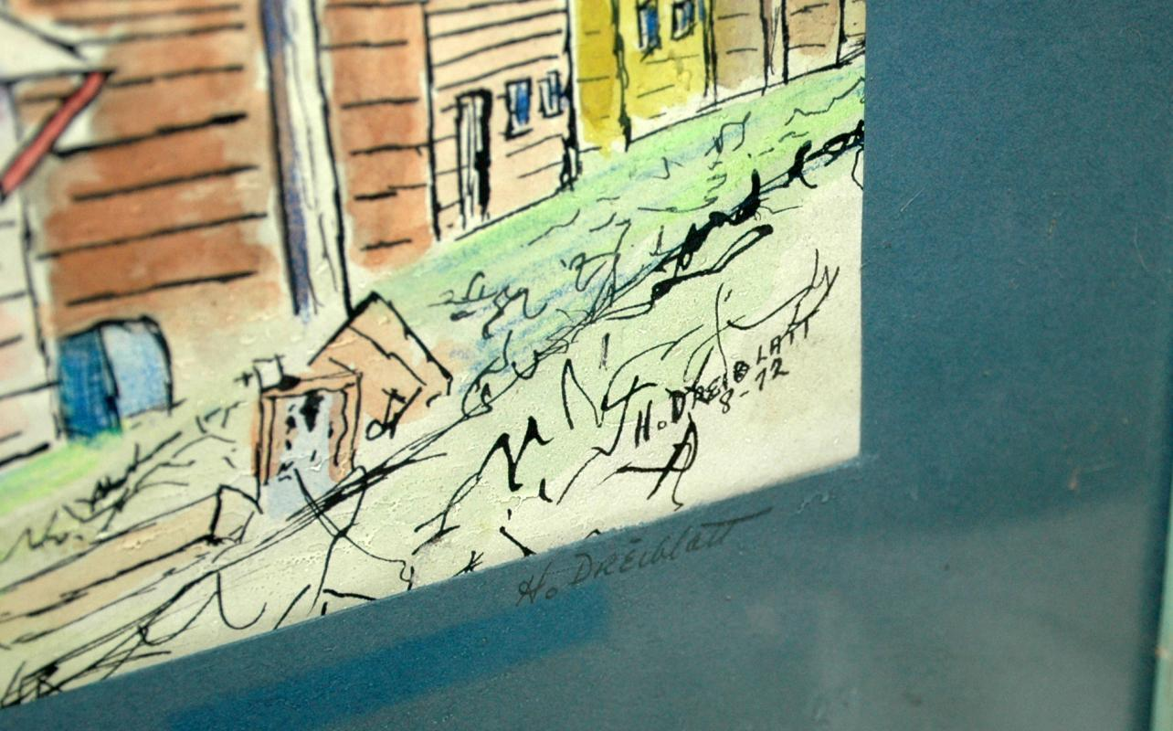 Shanty Town / Original Watercolor signed by H. Dreiblatt, Matted and Framed behind glass