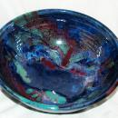 Stoneware Pottery Bowl Blue, Green Purple  Signed