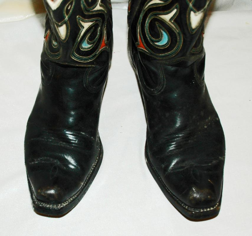 67124187904 Vintage Acme Boots Black with Cutouts Inlaid Blue and Red sz. 8.5 D