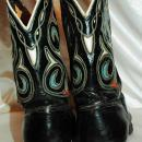 Vintage Acme Boots Black with Cutouts  Inlaid Blue and Red   sz. 8.5 D