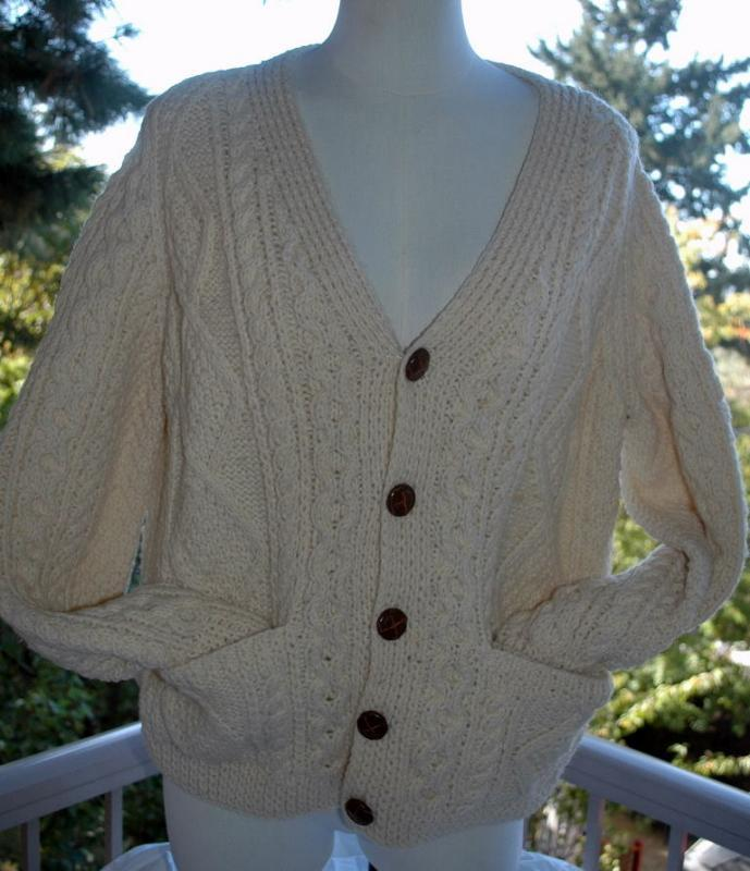 Vintage Irish Fisherman Sweater Cardigan Leather Buttons Size Large