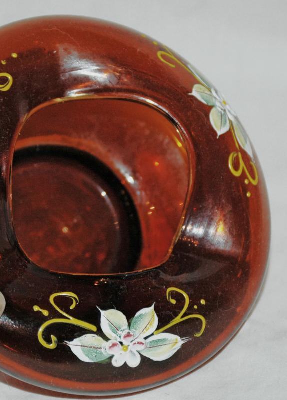 Cognac Blown Art Glass Bowl with Hand Painted Enameled Flowers  Gold Trim