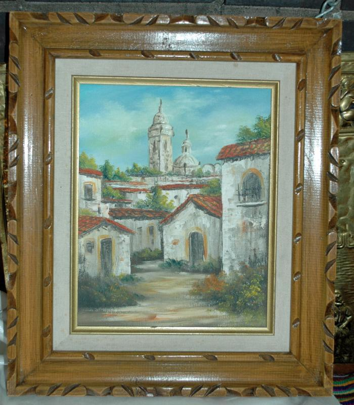 Latin American  Old Convent or Church  Oil Painting on Canvas Framed