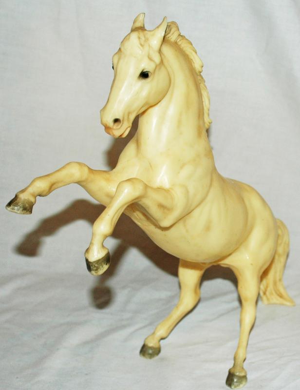 Vintage Breyer Plastic Stallion, White Stallion, Horse Figure, Stallion, Breyer Rearing Stallion, Horse Race