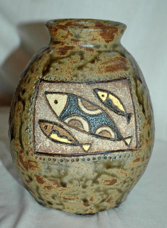 Rustic Stoneware Art Pottery Vase Signed / Numbered with Fish and Leaves