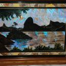Antique Painted Butterfly Wings Tray under Glass in Inlaid Tropical Hardwood