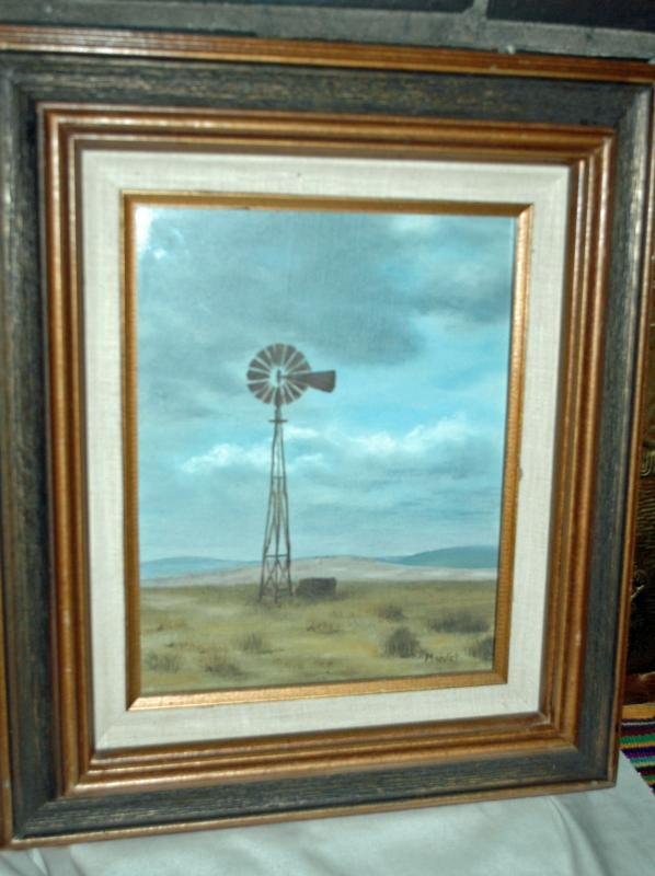 Lonely Windmill Painting  Behind Glass  signed Mardet  Original Acrylic