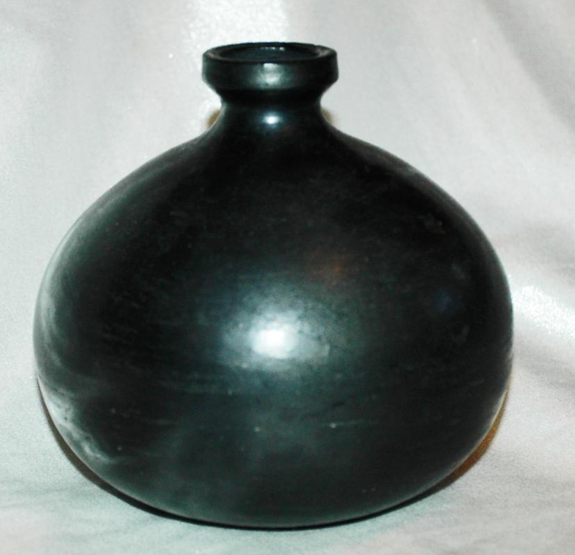 Old Oaxaca Mexican Black Pottery Seed Pot  Vase