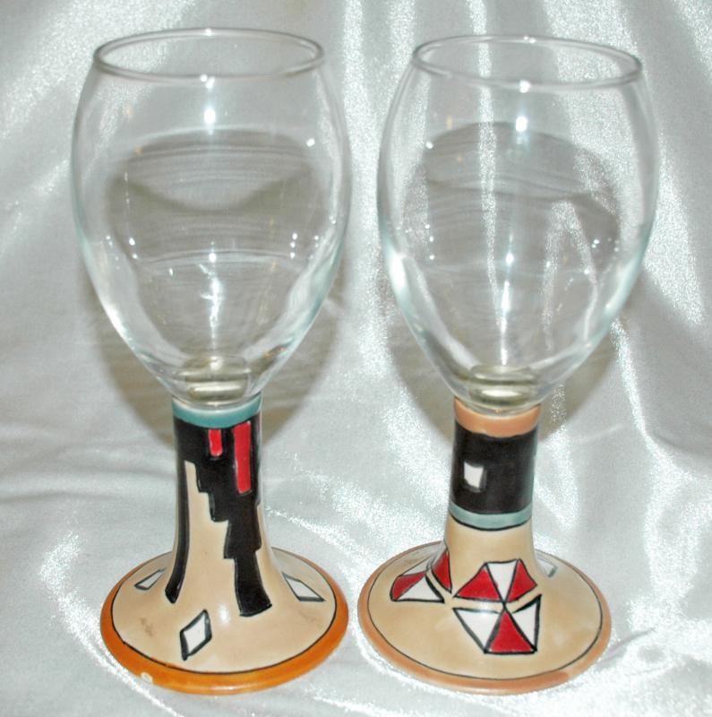 Stemware Wine Goblets with S.W Native American Motif Pottery Glass Signed x 2