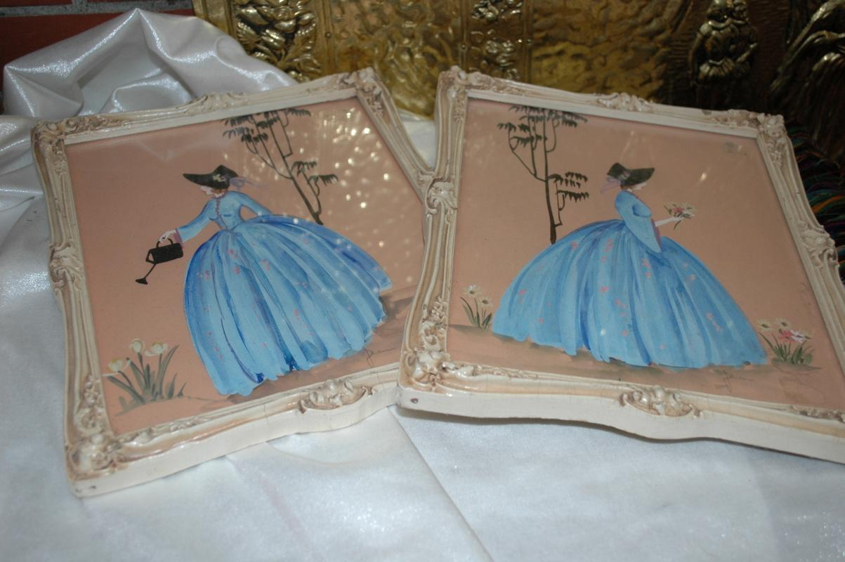 Pair of  SOUTHERN BELLE In Blue Dress  Painting signed Jeanne