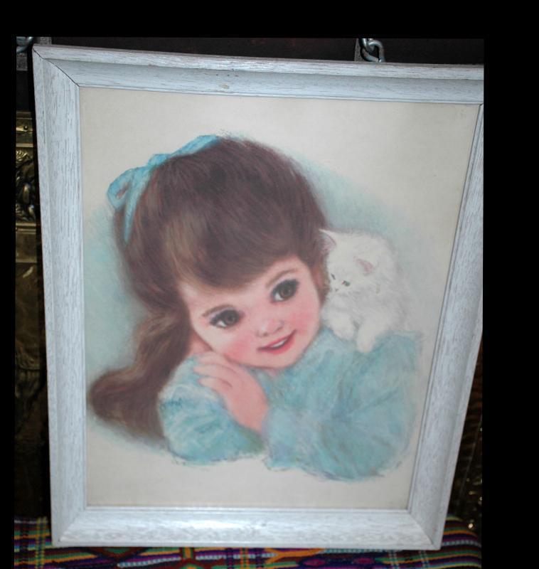 Frances Hook, Little Girl with white kitten  Framed Print,