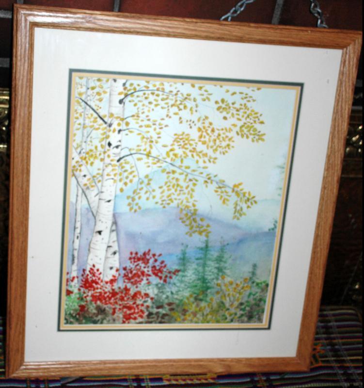 New England Scene Birch Tree  Watercolor painted, Kristi Johnston - framed behind glass  Original Art