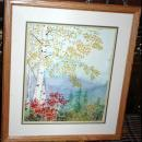 New England Scene Birch Tree  Watercolor painted, Kristi Johnston - framed behind glass  Original Art