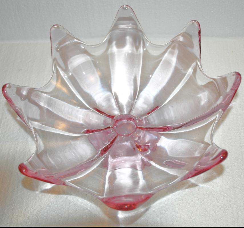 Lotus Blossom Undulated Lavender Blown Glass Compote