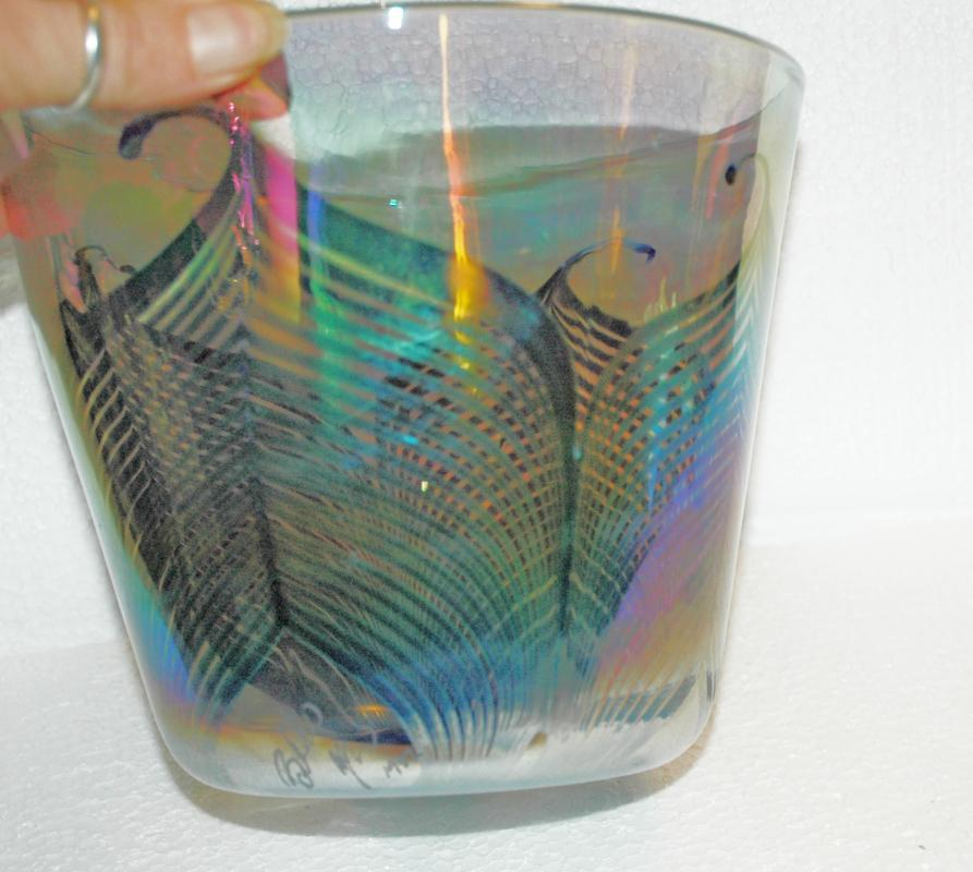 IRIDESCENT  PULLED FEATHER GLASS BOWL, SIGNED DATED 1982 AND NUMBERED BLOWN ART GLASS  ICE BUCKET