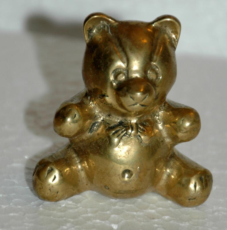Teddy Bear Solid Brass Sculptured Figure or  Paperweight