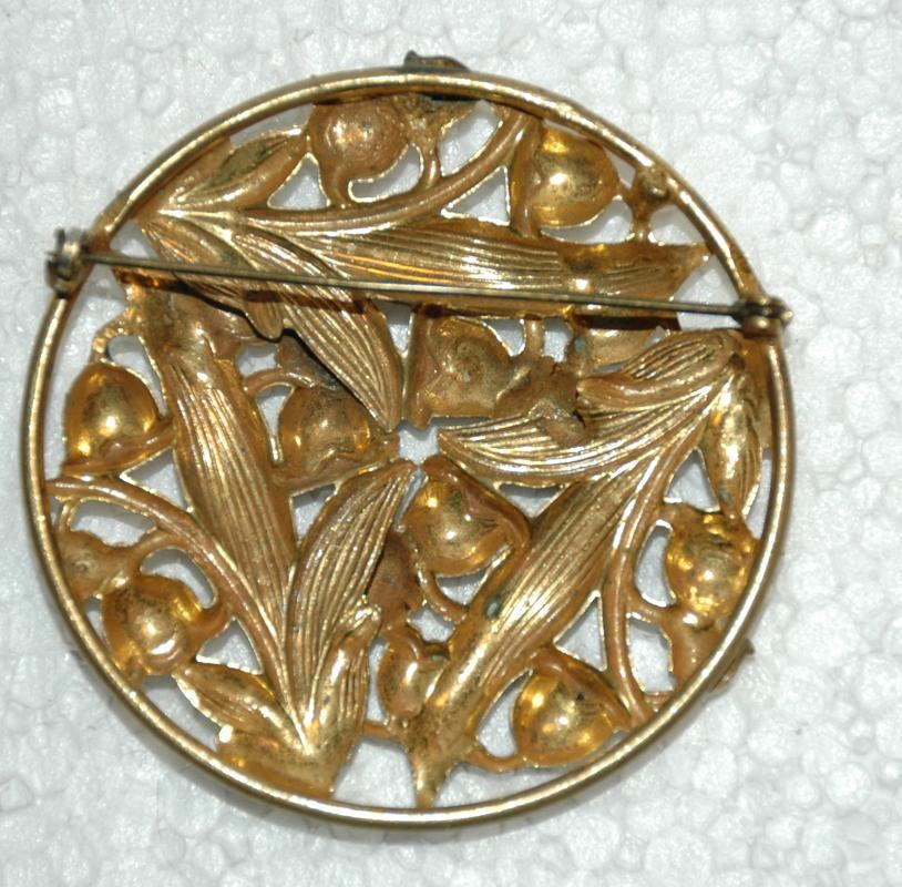 Lily of the Valley Large Brass Openwork Repousse Brooch