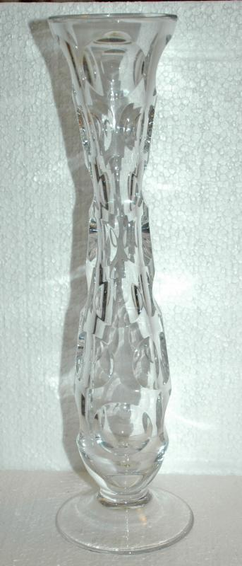 Crystal Footed Bud Vase Cut Coin Dots , Hand Blown Crystal   Marked & Numbered