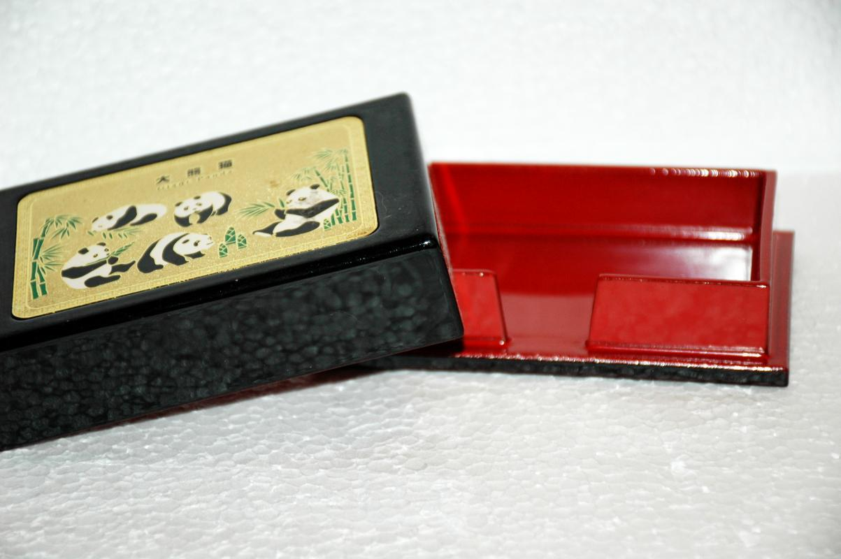 Chinese Giant Panda Lacquer   Card Box   or Cigarette Box