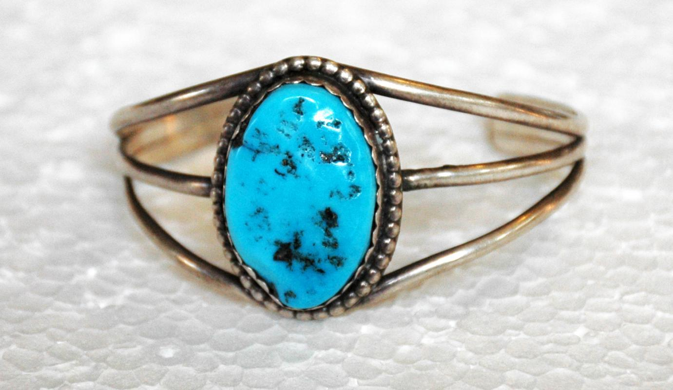 Navajo Large Sleeping Beauty Turquoise Nugget  Sterling  Silver Cuff Bracelet  Old