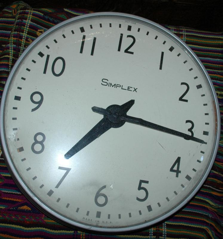 Simplex Time Recorder Wall Clock. Vintage School/ Auditorium /Industrial/Shop Clock 16