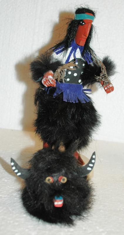 Buffalo Dancer  Kachina Doll made by artist T.G. Benally  Handmade, One of a Kind Removable Headdress