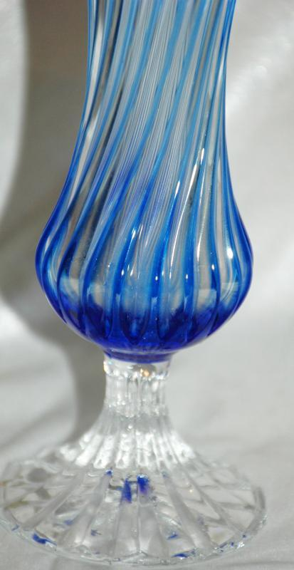Blue Cut to Clear Twisted Footed Glass Ruffle Vase