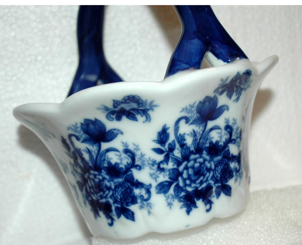 Blue White Porcelain Flow Blue  Basket  with ruffle edges