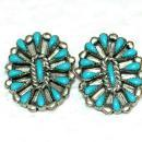 Native American Zuni  Sterling Silver and Turquois Earrings  Petit  Point
