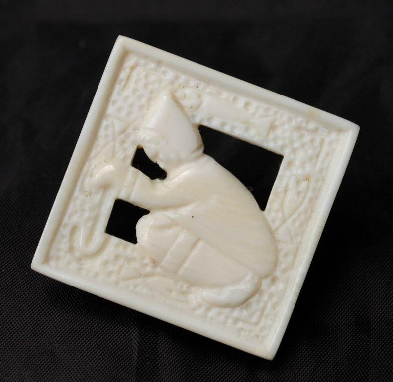 Carved  Ice Fisherman Pin / Brooch ,Inuit Eskimo