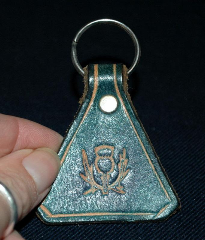 Blue Leather Thistle Key Ring Keyring  Handmade in Scotland
