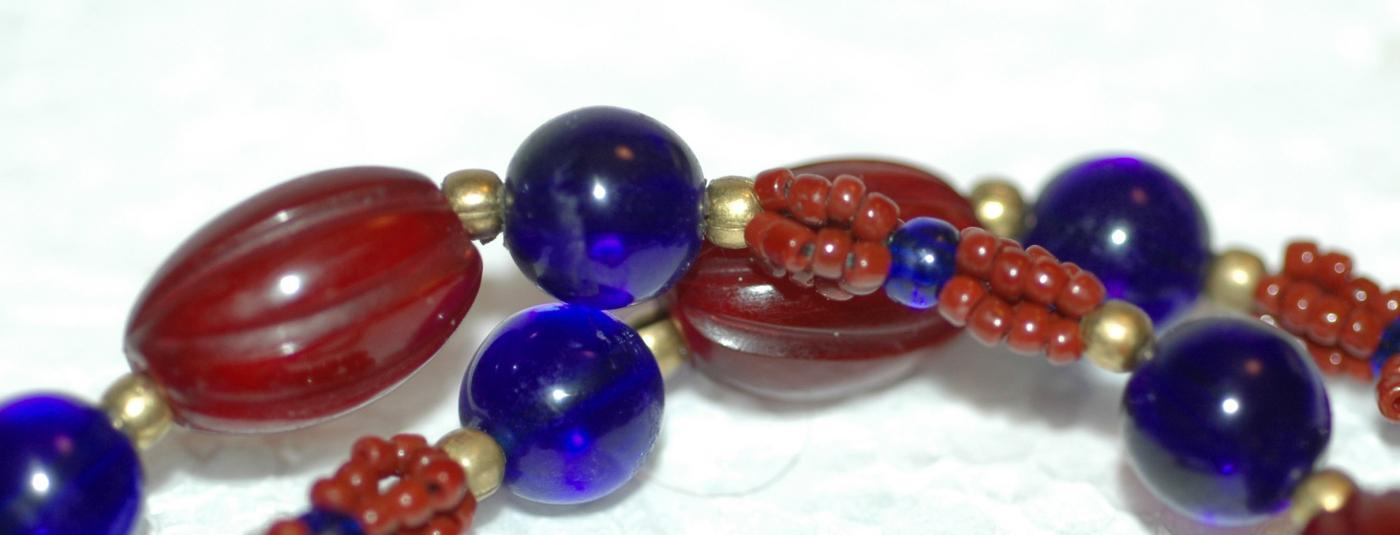 Antique Chevron Trade Bead Necklace with Cobalt Blue Glass and Red Melon Horn beads / One of a kind unique design hand crafted