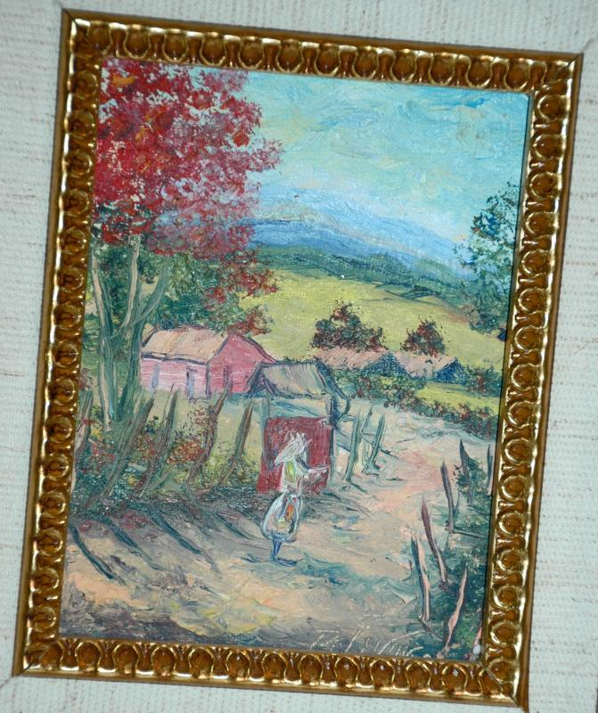 Oil Painting Country Road with Person.  Signed  Small Double Framed Gold Gilt