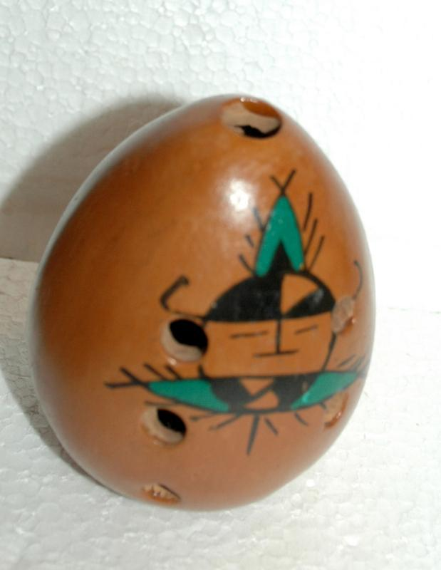 Native American Indian Pottery Egg Pomander with Kachina