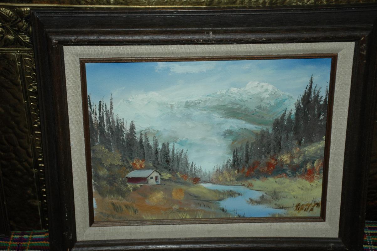 Mountain , Stream Autumn Painting  - Framed