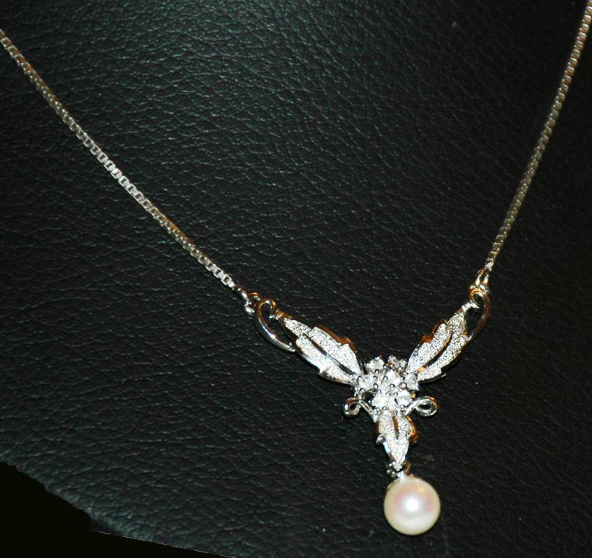 Pearl Drop & Gemstone Leaves Sterling Silver Necklace