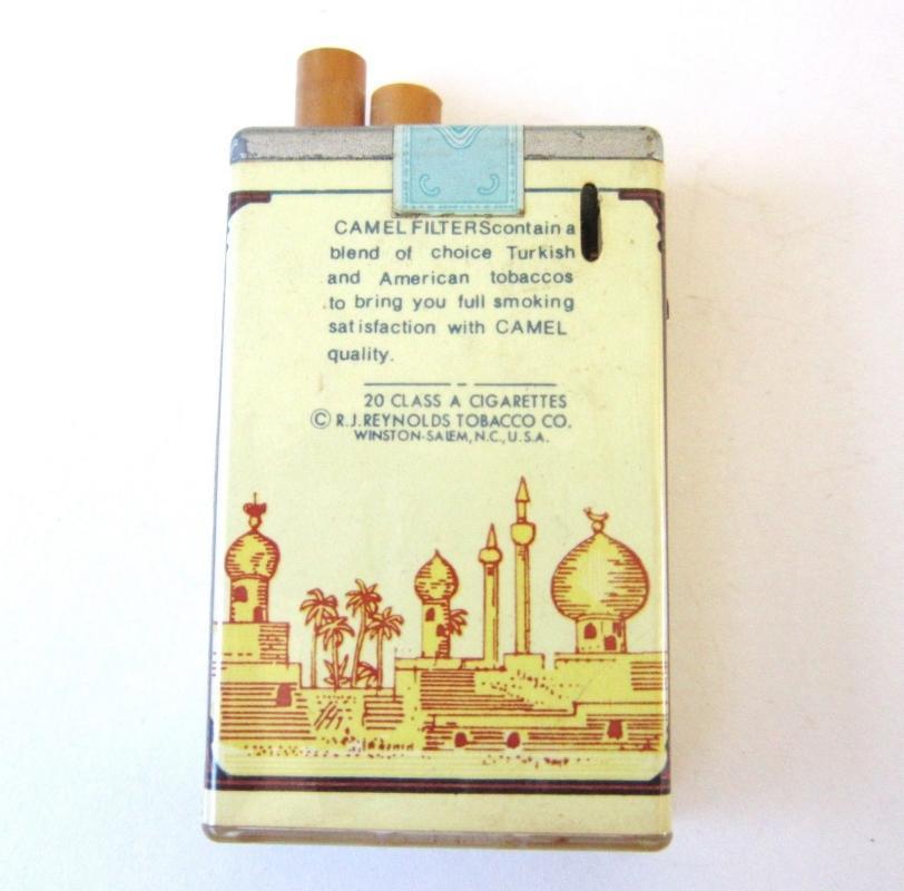 VINTAGE CAMEL FILTERS CIGARETTE PACK PLASTIC LIGHTER Butane.. Works!