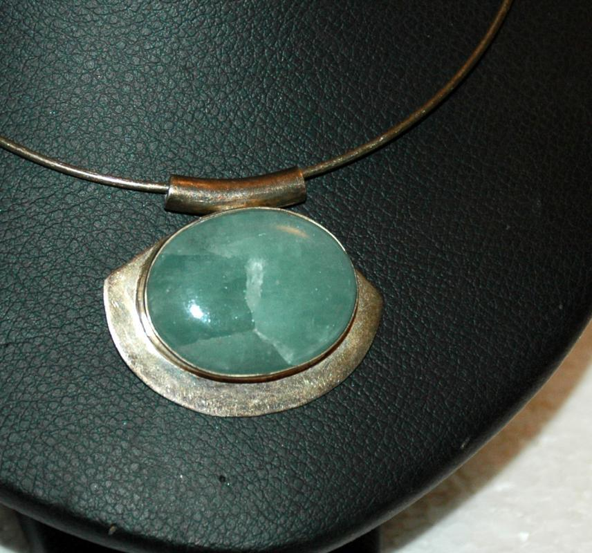 Celadon Jade Jadeite  in Sterling Silver Choker Collar Necklace  Wintergreen shade Cabochon