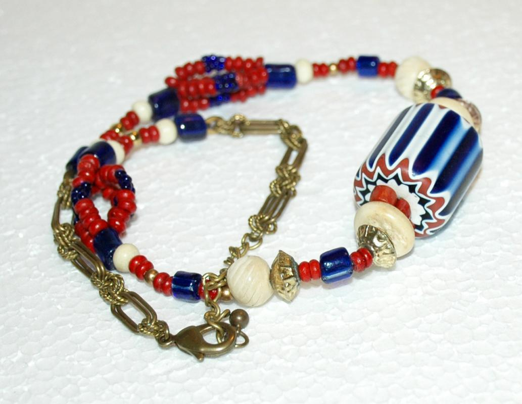Huge Venetian Glass 6 layer  Chevron Bead NecklaceAntique  African Trade Beads, Unique One of a Kind Hand Crafted