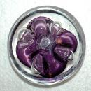 Rollin Karg Disc Paperweight, Art Glass Purple with controlled bubble, signed