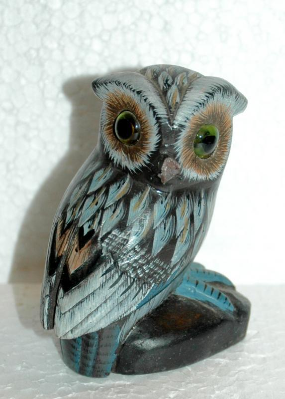 Hand Carved Alabaster  Owl with Glass Eyes and Blue Tinting