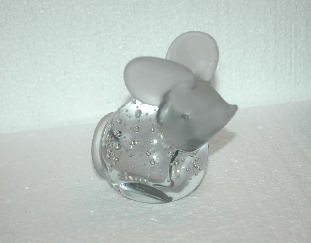 Crystal Clear Glass  Mouse Paperweight , hand blown controlled bubble