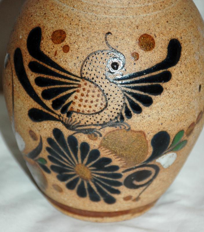 Folk Art Tonala Enameled Quail & Flowers Stoneware vase