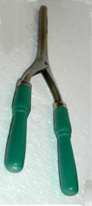 Green Handle Curling Iron Antique