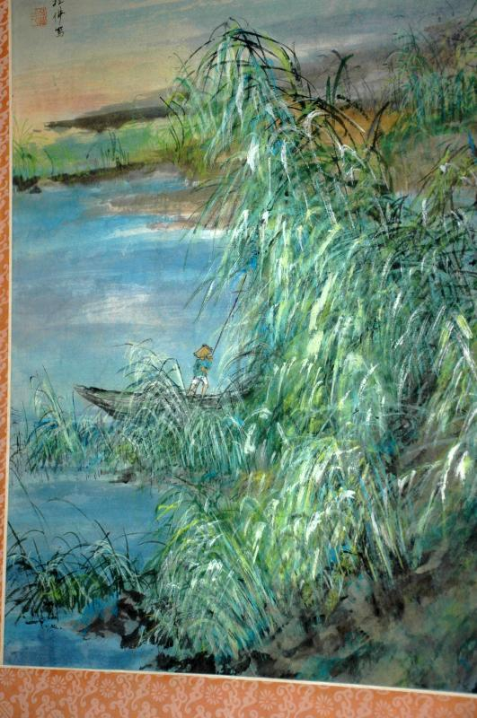 Chinese Watercolor Painting, bamboo grove, fisherman with calligraphy, signed