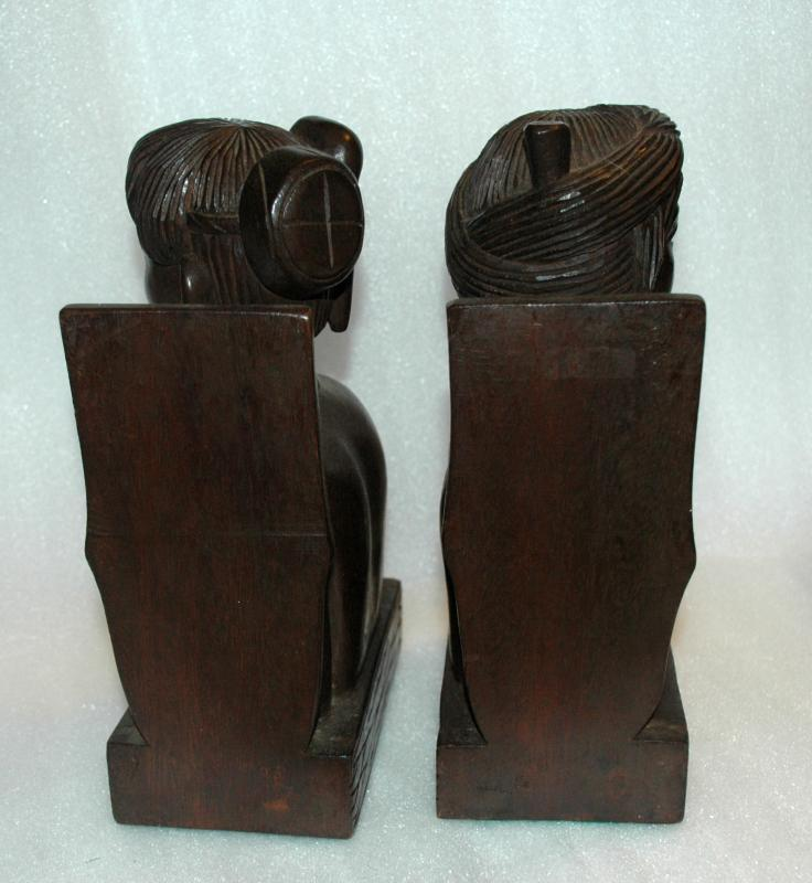 Carved Tropical Hardwood Pacific Islands Tribal  Man & Woman Bookends