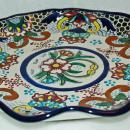 TALAVERA HAND PAINTED WALL Undulated  PLATE FROM PUEBLA, MEXICO 11.5