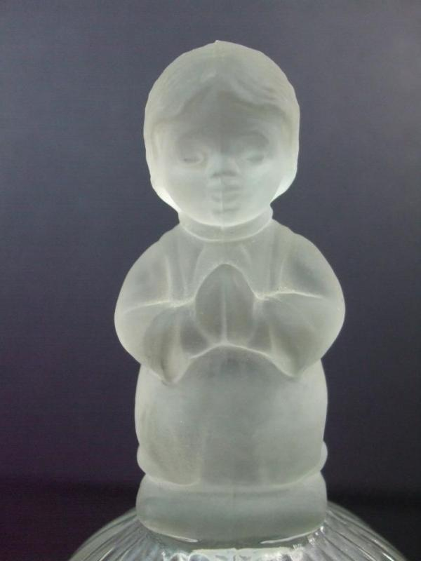1978 Goebel Clear Glass Dome Bell w Frosted Top Girl  Praying 6.5