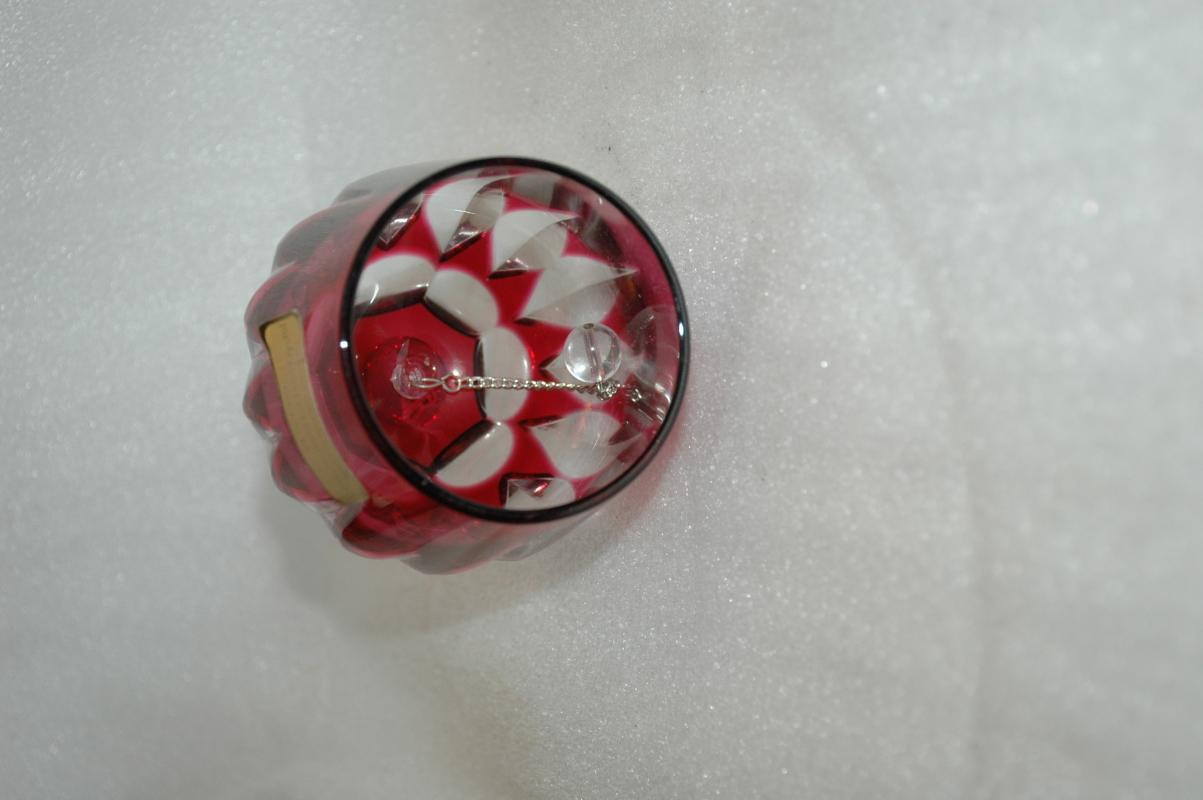 Cut to clear Cranberry Hand Cut 24 %  Lead Crystal Bell  West Germany.