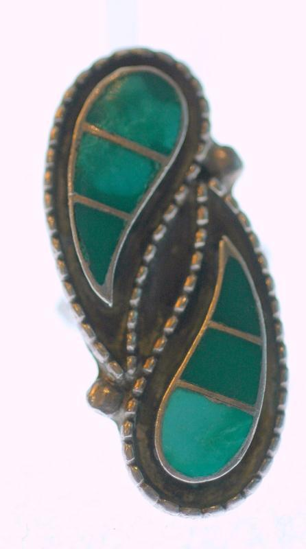 Sterling & Turquoise Native American  Ying Yang style Ring 3 colors of turquoise stone Signed